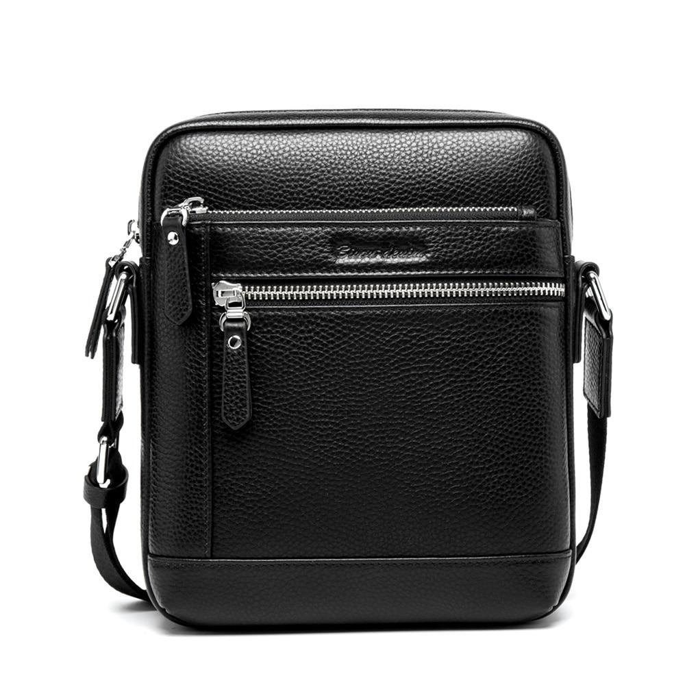 BISON DENIM mode männer tasche aus echtem leder männer messenger bags business männlichen kleine schulter taschen - 3