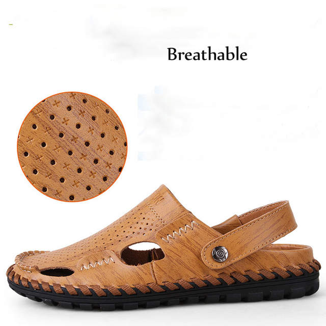 f447d620ae25 placeholder DJSUNNYMIX Brand men sandals slippers genuine leather cowhide  male summer shoes outdoor casual leather sandals
