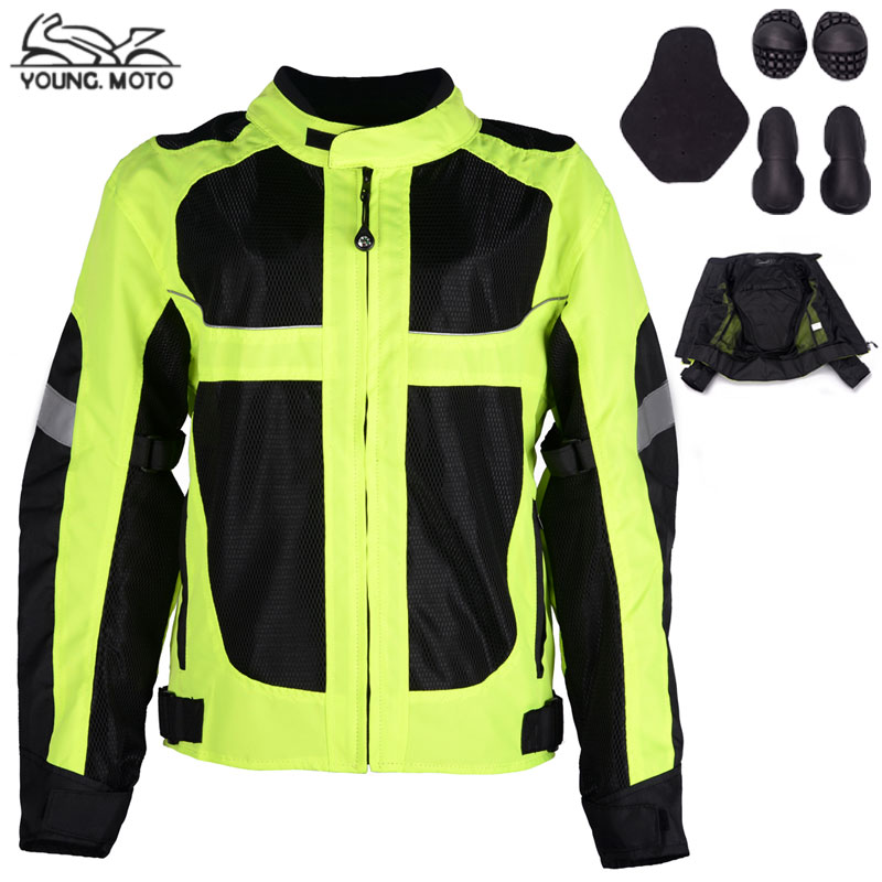 ФОТО YOUNG.MOTO Green Motorcycle Racing Suit Reflective Clothes Protective Gear Body Armor Mesh Riding Tribe Breathable Clothing