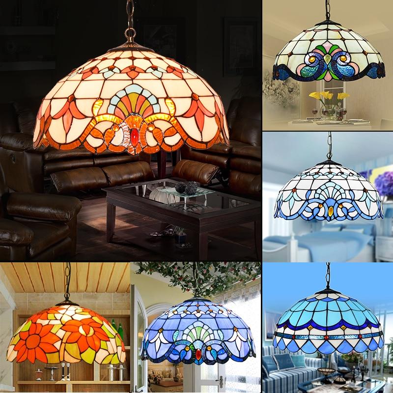 Tiffany Blue Ceiling Glass Lamps Mediterranean style E27 110-240V Chain Pendant Lights Luminarias