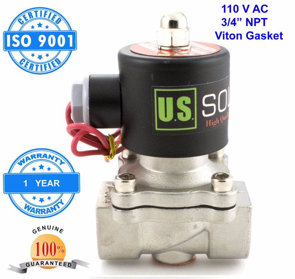 U.S. Solid 3/4 Stainless Steel Electric Solenoid Valve 110 V AC NPT Normally Closed diesel kerosine alcohol Air Gas Oil Water u s solid 3 4 stainless steel electric solenoid valve 110 v ac g normally closed diesel kerosine alcohol air gas oil water
