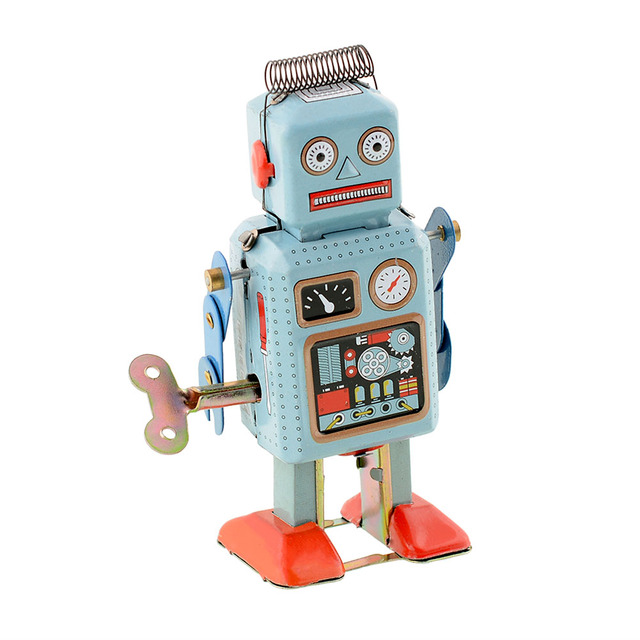 Hot Divertido Lepin Oscuro Verde Clockwork Spring Wind Up Metal Walking Robot Mecánico Retro Niños Niños Toy