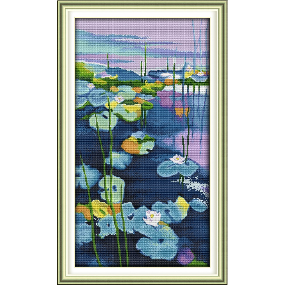 Joy Sunday Water Lilies (3)  Chinese cross stitch kits Ecological cotton clear stamped 11CT DIY gift wedding decoration for homeJoy Sunday Water Lilies (3)  Chinese cross stitch kits Ecological cotton clear stamped 11CT DIY gift wedding decoration for home