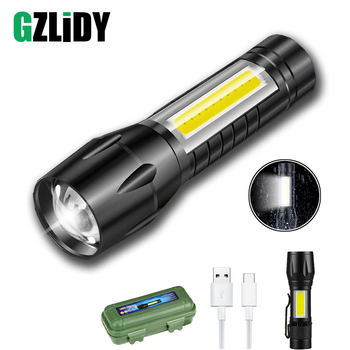 USB Rechargeable Mini LED Flashlight 3 Lighting Mode COB + XPE Zoom Torch Waterproof Portable for Camping, Cycling, Work, Etc. panyue xml xpe cob led flashlight portable mini zoom torch flashlight rechargeable waterproof in life