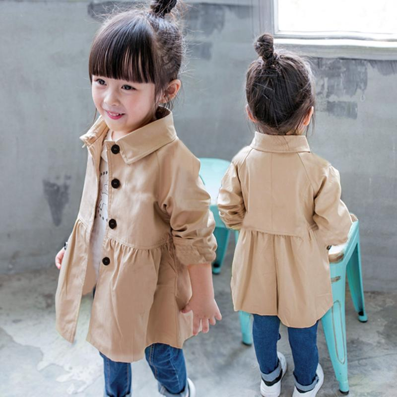 Korean Style Baby Girls   Trench   Coat Spring Kid Long Sleeve Turn Down Collar Solid Color Outerwear Fashion Lovely Children Outfit
