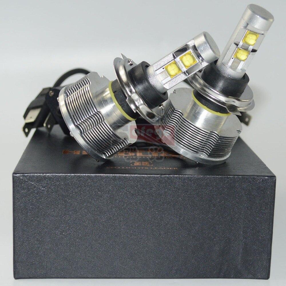 ФОТО 1 sets  car led headlights h4 2nd generation 3000LM 30W per blub 6500K h4 led  hi lo beam 25% brightness than 1st