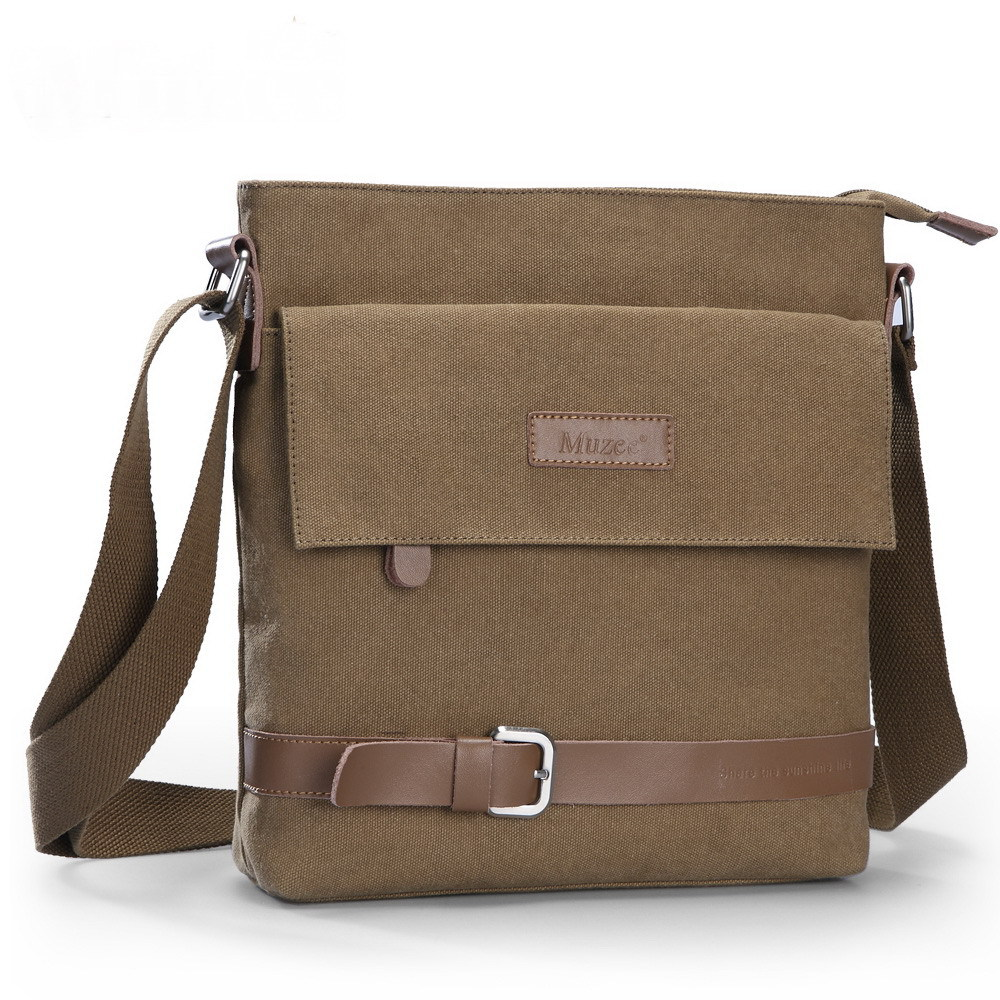Color coffee Multiple pockets Canvas men messenger bags shoulder bag 28*27cm fit for iPad men messenger bags 2015 27 shoulder bag