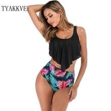 Hot Sale Print Ruffled Bikini Mujer 2019 New Sexy Swimwear Women Swimsuit Plus Size Brazilian Set High Waist Biquinis XXL