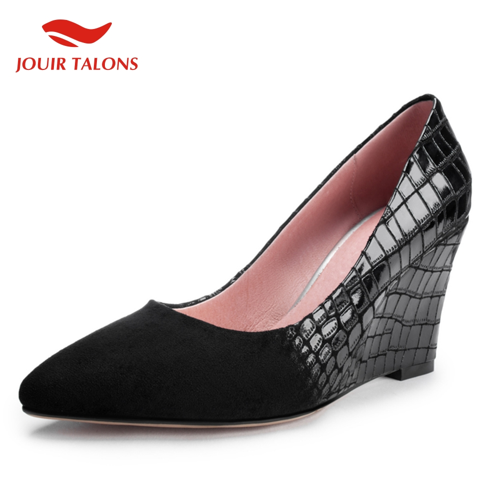 Concise Shallow Pumps Woman Pionted Toe Wedges High Heels Pumps Woman Office Career Wedges Shoes Women Large Size 33-42Concise Shallow Pumps Woman Pionted Toe Wedges High Heels Pumps Woman Office Career Wedges Shoes Women Large Size 33-42