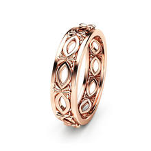 Huitan High Quality Unisex Ring Band Circle Brass Rose Gold Color Hollow Newest For Women Hot Selling Rings
