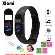 4Pcs/Lot(2Films+2Wipes)For Xiaomi Miband Mi Band 2 Band2 Protector Cover Marvel Super Hero Batman Spider Iron Man Film Guard