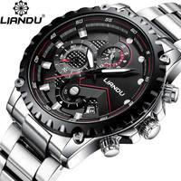 LIANDU New Luxury Full Steel Business Waterproof Watch Relogio Masculino Watches Men Fashion Sport Quartz Wristwatch Mens Clock