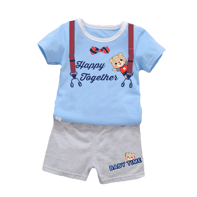 New Summer children bear head patterns clothes sets boys girls tops outdoor T-shirts pants clothing suits
