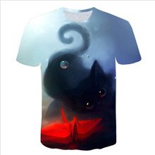 Summer Tops Men/women 3d t-shirt short sleeve digital printing big face blue eyes cat slim t shirt tees T Shirt men