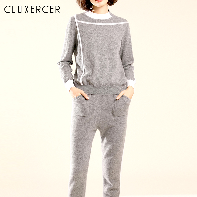 2019 New Women's Sports Suit Casual Knitting Solid Sweater And Harlan Pants Two Piece Set Fashion Gray Tracksuit For Women