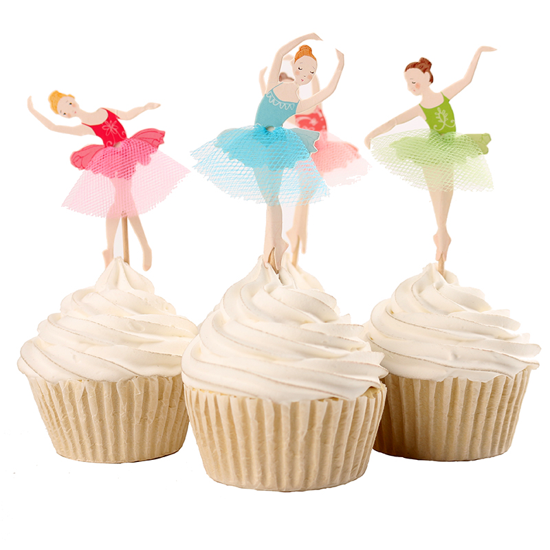 2017 new flower fairy 24pcs toppers picks cupcake baby for Ballerina cake decoration