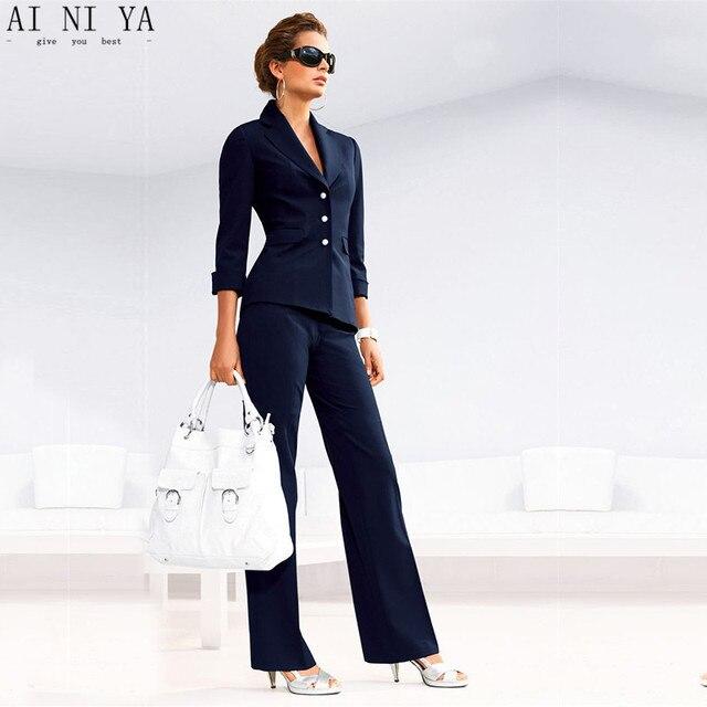096e805aad Spodnie damskie garnitury kobiet garsonka Notch Lapel kobiety biuro biznes  smokingi kurtka + spodnie kostium damski