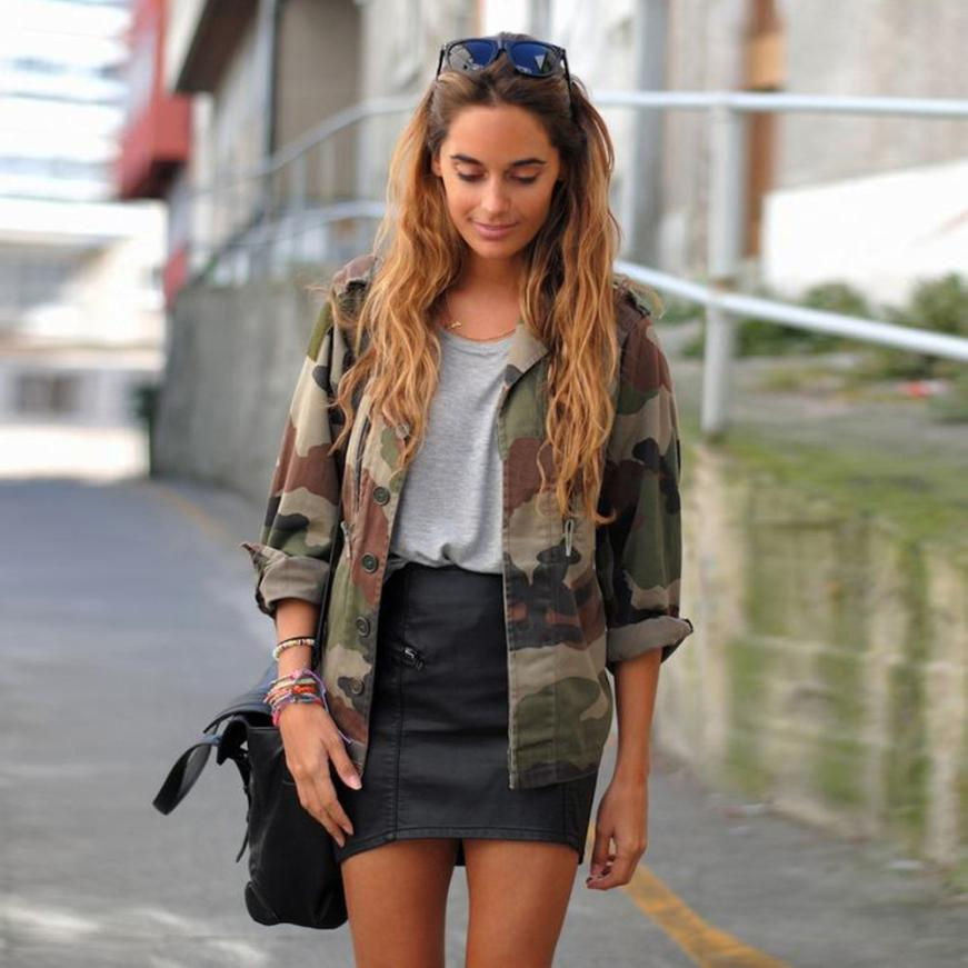 Hot sale Women Military Jacket Spring Single Breasted Button Outwear   Coats   Female Vintage Camouflage Army Green Jackets Blouses