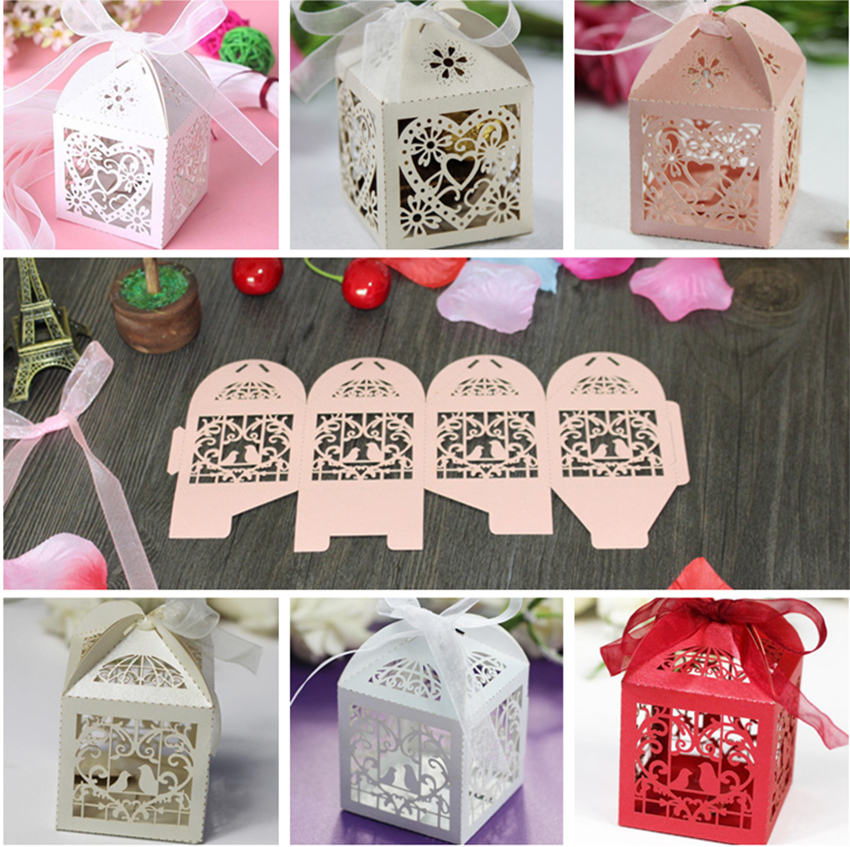 10pcs Hollow Love Heart Bird Style Wedding Party Favour Box Candy Gift Cake Boxes With Ribbon Birthday Baby Shower Xmas Gift Box