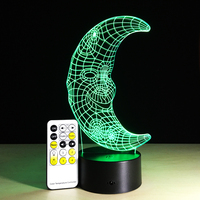 Happy Birthday Gift 7 Colors Change Touch Remote Control LED Night Lamp Acrylic Panel 3D Illusion Moon Lamp Kids Bedroom Decor
