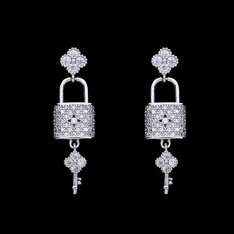 Новый серебряный цвет замок и ключ форма CZ Циркон серьги для женщин вечерние ювелирные изделия высокого качества цветок висячие серьги Модные ювелирные изделия