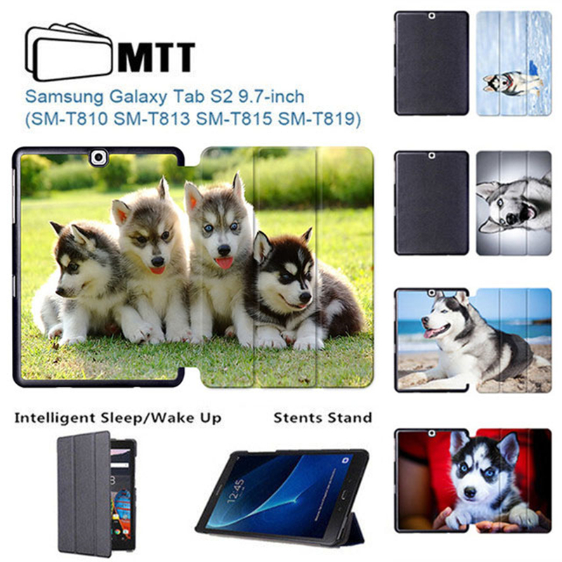 MTT HUSKY Dog Tab S2 9.7 Tablet Case SM-T810 T815 T813 T819 Flip Stand cover for samsung galaxy tab s2 9.7 case Auto Wake/Sleep for tab s2 sm t810 kids safe shockproof heavy duty silicone hard case cover for samsung galaxy tab s2 9 7 t810 t815 hand hold