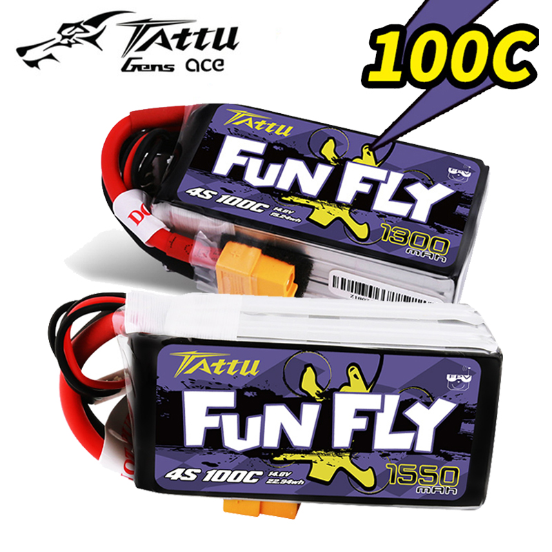 <font><b>4S</b></font> <font><b>LiPo</b></font> Battery TATTU FUNFLY 1300mAh 1550mAh 14.8V <font><b>100C</b></font> with XT60 Plug for FPV 250 230 180 210 Size Drone image