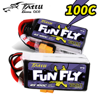 4S LiPo Battery TATTU FUNFLY 1300mAh 1550mAh 14.8V 100C with XT60 Plug for FPV 250 230 180 210 Size Drone