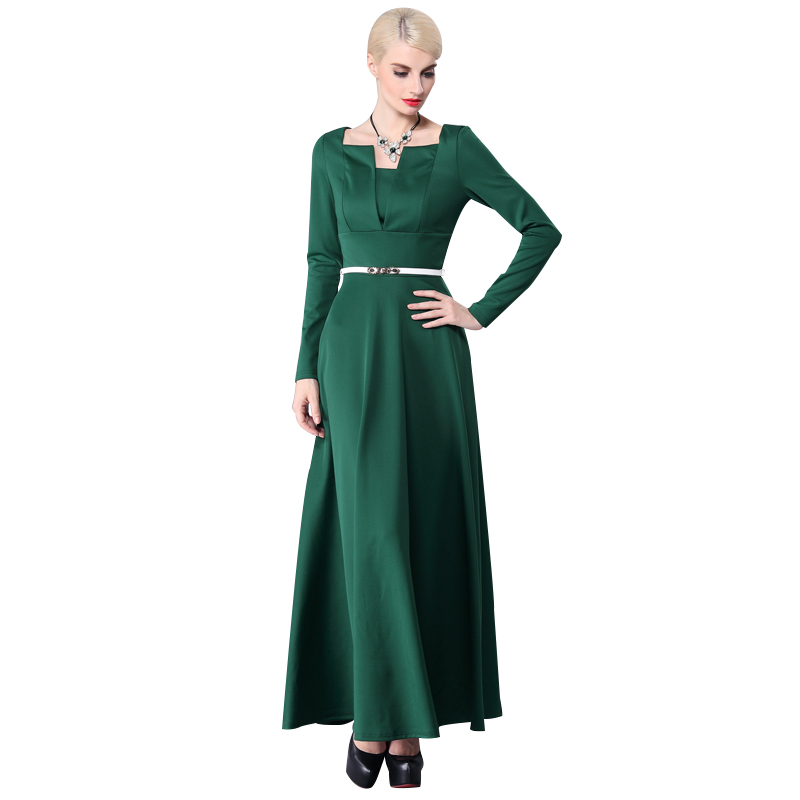 04e5f8ab045 Buy maxi dress sleeve muslim green and get free shipping on AliExpress.com