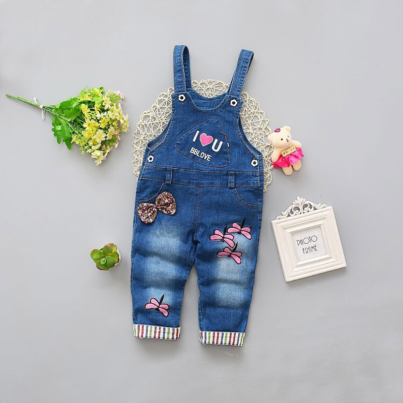 BibiCola Free shipping 2017 Spring Autumn sweet baby girls denim overalls infant cute pants overalls girls Rompers
