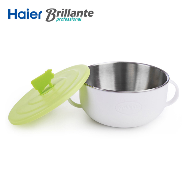 Haier Brillante 500ml PP Lid and Stainless Steel Baby Bowl Dinnerware Dishware Tableware with Handle for Kids Feeding