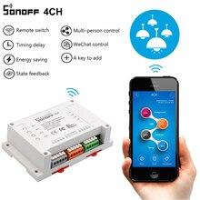 Sonoff 4CH Wi fi Inteligente Interruptor Interruptor Interruptor Inteligente de Controle Remoto Universal 4 Canal de Montagem em Trilho Din Interruptor de Wi FI de Casa Inteligente