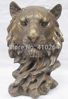 10Oriental East Art Bronze statuary Lion foo dog Statue Carved dragon stamp