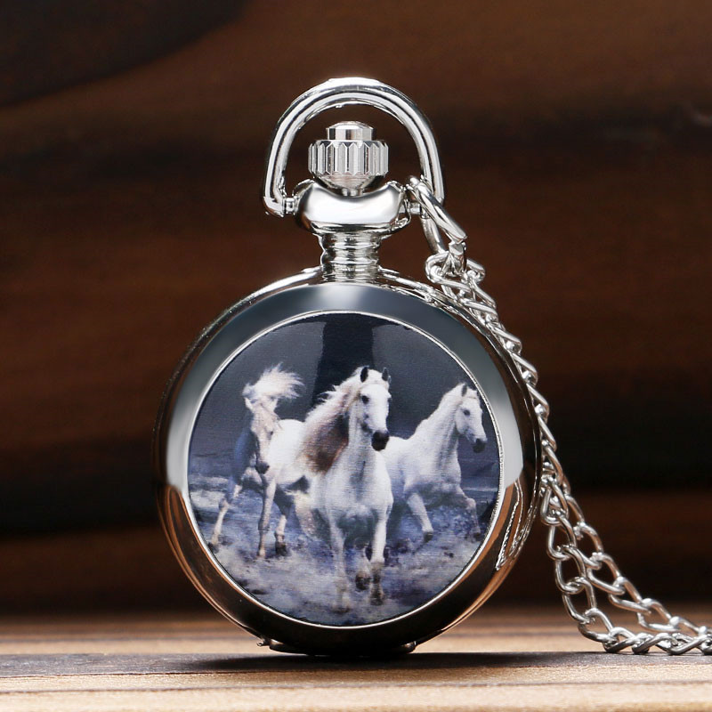 Vintage Silver Horse Design Quartz Pocket Watch Steampunk Necklace Pendant Clock Chain for Women Men Gifts Relogio De Bolso vintage bronze fishing steampunk quartz pocket watch antique necklace pendant with chain clock men women gifts relogio de bolso