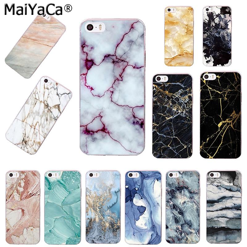 MaiYaCa sort guld marmor malet marmor tekstur Granit telefon etui - Mobiltelefon tilbehør og reparation dele
