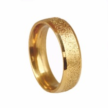 Men Sand Gold stainless steel Ring(China)