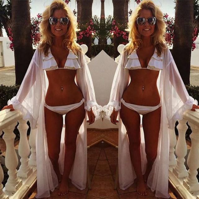 Hot Sexy Women's Chiffon Beachwear Bikini Wrap Dress