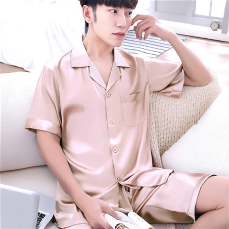 Long Sleeves Mens Silk Pajamas Sets Loungewear Spring Pyjamas Set Onesie  Nightwear Blue Pijama Hombre Verano -in Men s Pajama Sets from Underwear ... c79298053
