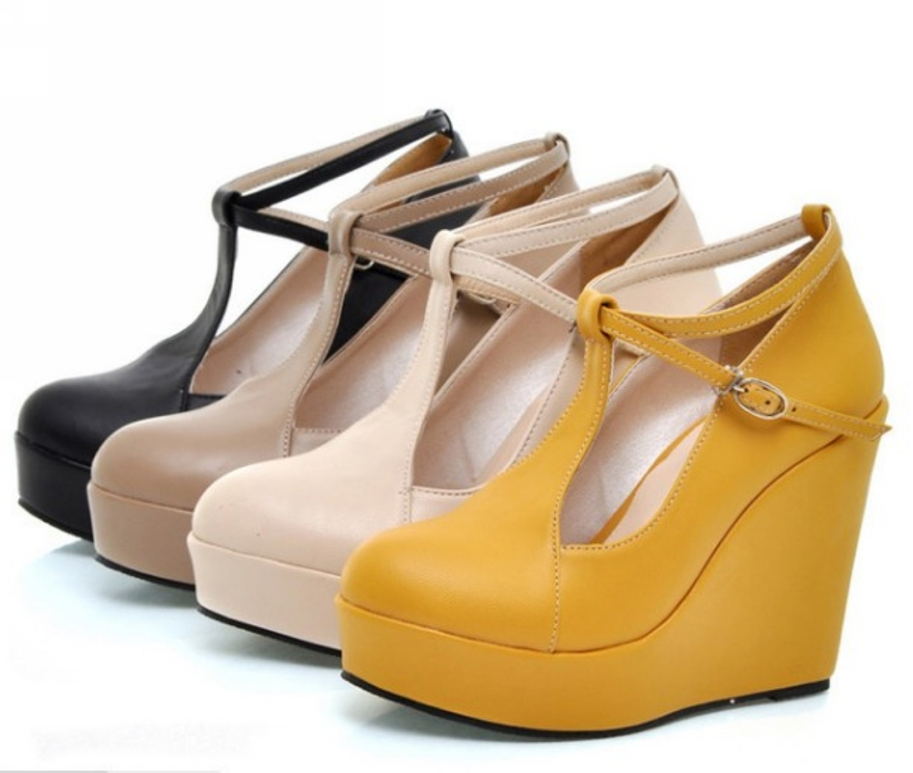 High Heels Sexy Womens Ankle Strap Wedge Shoes Beige Black Khaki ...