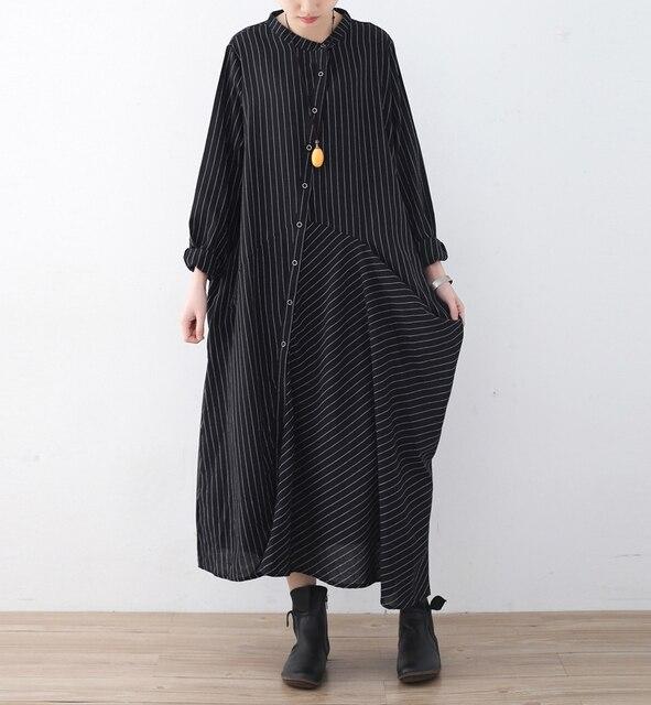0421fe97e9 Women Striped dress Shirt 2018 Spring Autumn Casual Cotton Linen Long  Sleeves Black Shirt Striped Dress