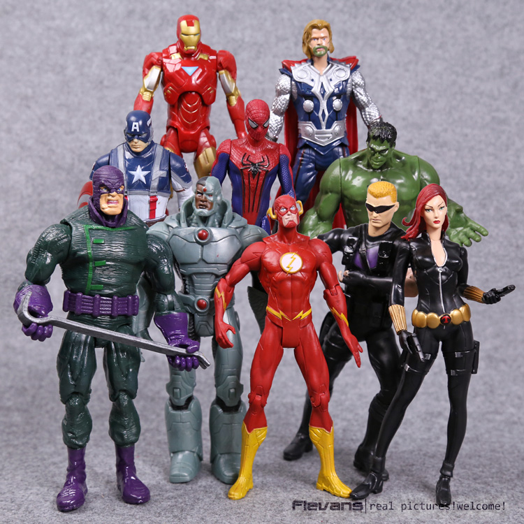 Marvel Superheroes Avengers Toys 10pcs/set Thor Iron Man Hulk Black Widow Hawkeye The Flash PVC Action Figures 18cm