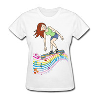 Gildan New Fashion Girl And Music Notes T Shirts Women Short Sleeve Cotton Female T Shirt