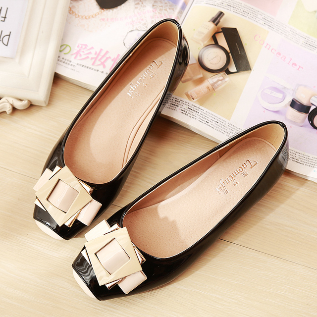 Summer new arrival 2017 japanned leather fashion sweet single shoes side buckle flat 34 - 43 women's plus size shoes