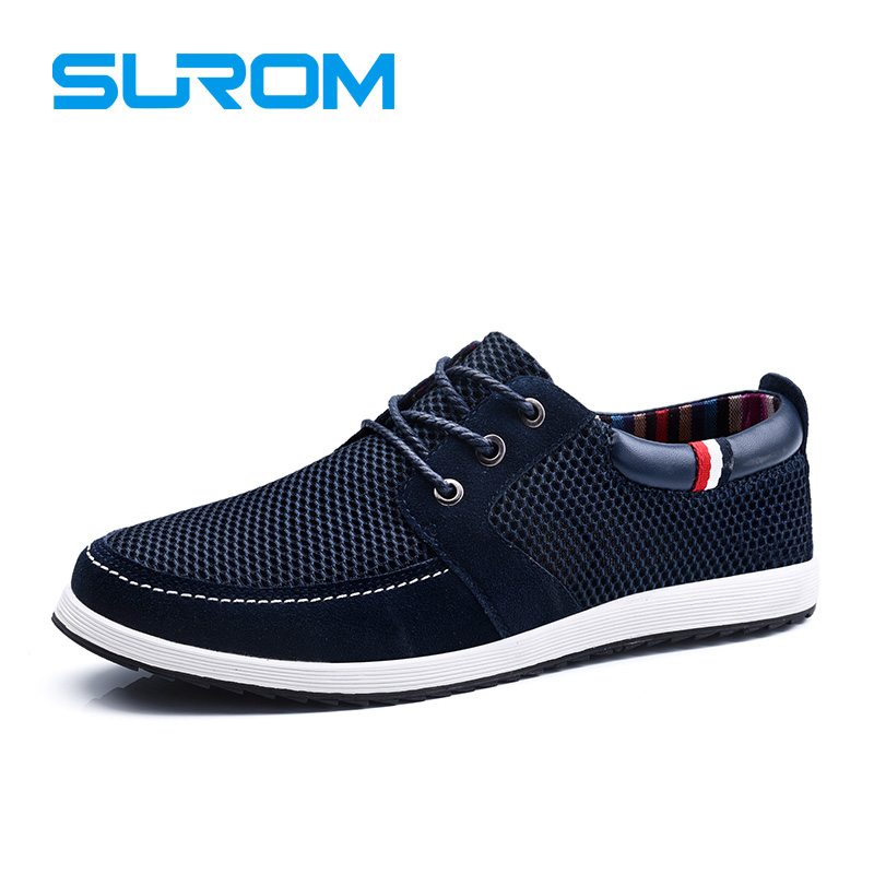 SUROM 2017 Men s Lace up Shoes Cut out England Suede Patchwork Mesh Fashion Men Casual