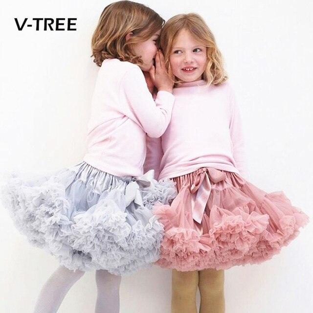 c606185f9f20bb € 11.48 15% de réduction|V TREE filles tutu jupe 0 10 ans en mousseline de  soie jupon couleurs solides tutu jupes fille danse jupe noël Tulle ...