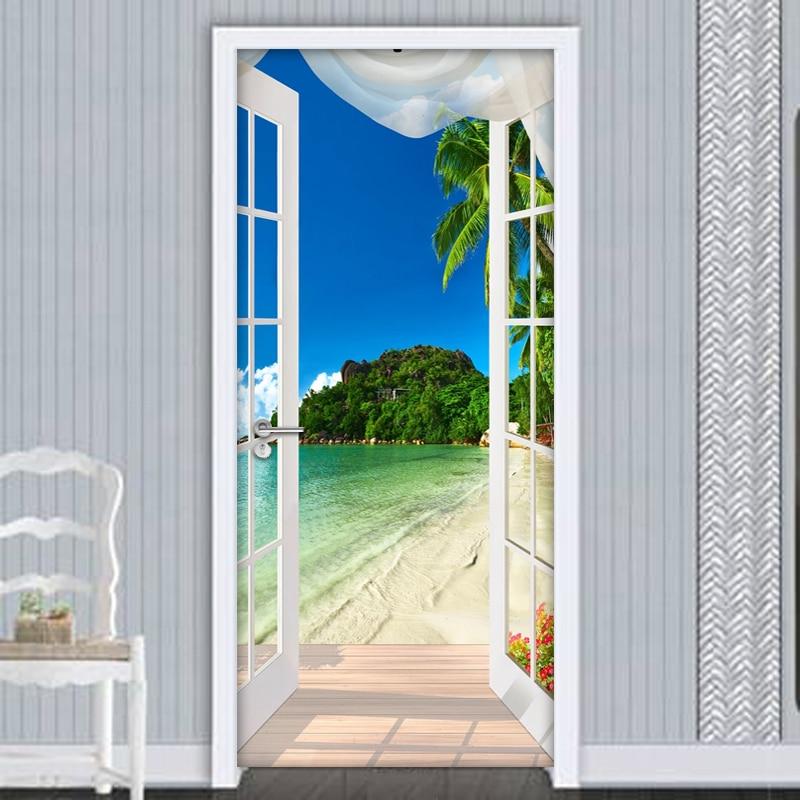 3D Sticker Window Beach Seaside Photo Mural Wallpaper PVC Self Adhesive Door Sticker Living Room Bedroom Wall Papers Home Decor