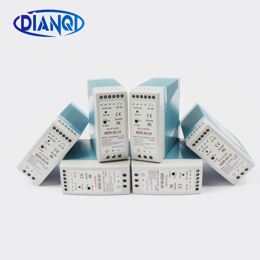 High Quality Din Rail Power Supply Switch 40W Or 60W  ,12V , 24V Or 48V  Output DIANQI Switching MDR-60 Or MDR-40