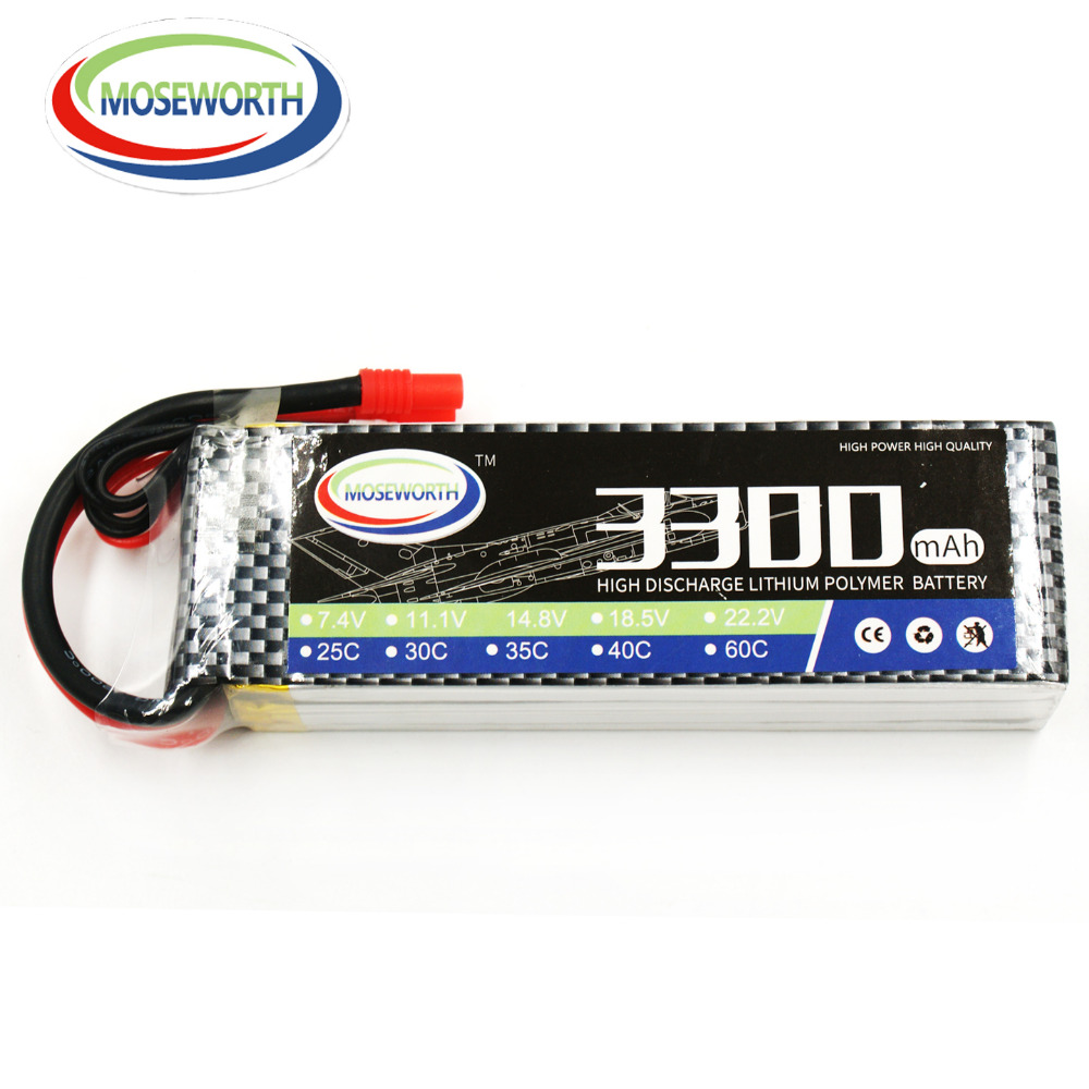 все цены на MOSEWORTH RC LiPo Battery 4S 14.8V 3300mah 60C for Airplane Quadrotor Akku batteria Drone онлайн
