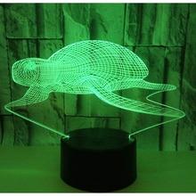 3D свет в ночь морская черепаха с 7 цветов свет для украшения дома лампы удивительный визуализации Оптические иллюзии