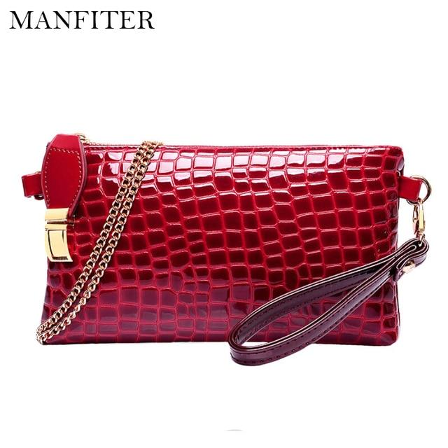 MANFITER New Crocodile Women Messenger Bags Gorgeous Women Clutch Luxury Ladies Purse PU Leather Handbag Chain Women Bag Wallet